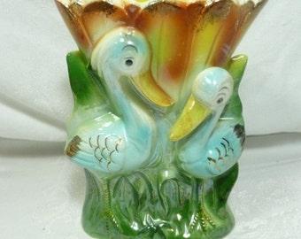 Rare Figural Lustreware Vase, Storks or Cranes, Japan