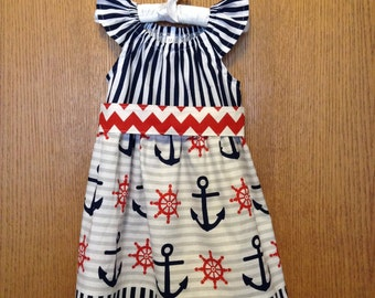 3T Nautical Anchor Peasant Dress with Flutter Sleeves and Sash, Size 3T, Ready to Ship, Fourth of July Dress