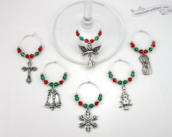 Catholic Christmas wine charms wine glass charms holiday wine markers table decorations catholic table decor wine tags holiday gift under 25