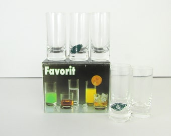 Vintage 1970s Shot Glass Set - Bar Glasses by Clover Glass Slovakia -  Unused in Box