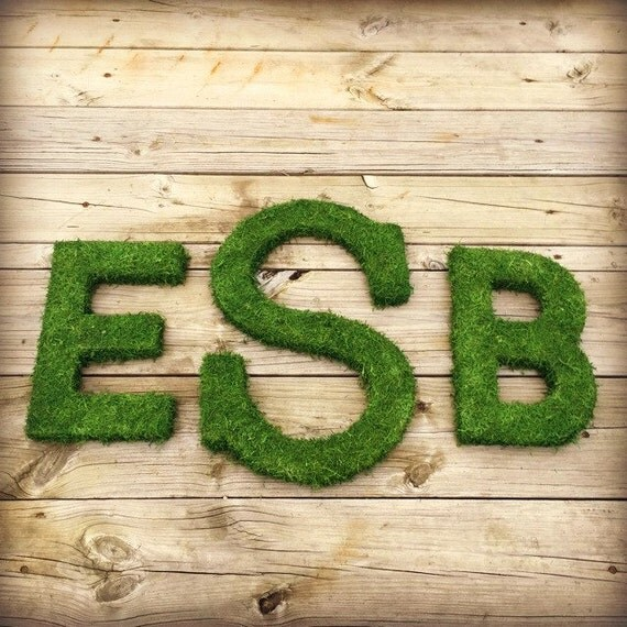 Moss Covered Letters: Three Moss Letter Moss Covered Monogram Letters Moss Covered