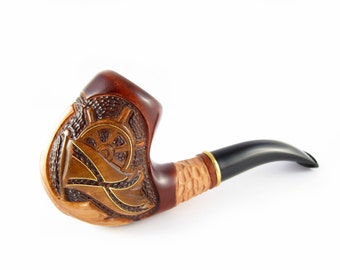 Pipe Handcrafted Tobacco Smoking Pipe/Pipes. HANDCARVED MARINE Pipe Inlaid with Copper, Limited Edition