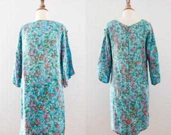 Vintage 1960s Mod Mini Dress with Shoulder Cutouts  // 60s Silky Watercolor Cold-Shoulder Dress