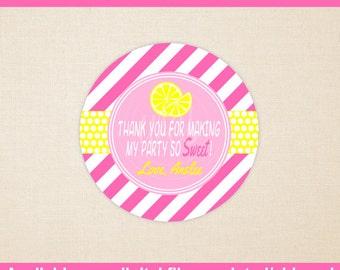 Pink Lemonade Favor Stickers - Lemonade Favor Stickers - Lemon Stickers - Pink Lemonade Gift Stickers - Digital or Printed