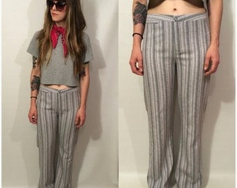 Vintage 90s High Waisted Bell Bottom Flare Pants Stripes Size Small