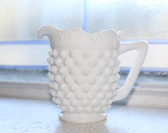 Vintage Milk Glass Hobnail Creamer