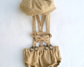 Newsboy set, newsboy outfit, baby boy prop, first birthday photos, vintage style props, cake smash outfit, 1st Birthday Photo, boy photos