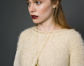 Daystar Drop Necklace || Modern Geometric Gold Lariat Y Necklace