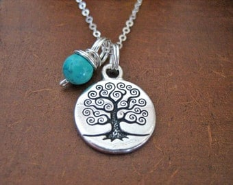 Tree of Life Necklace - Turquoise Charm Necklace with Sterling Silver Chain, Boho Turquoise Jewellery