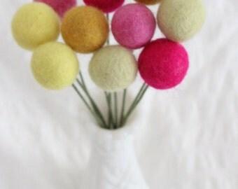 Pink Lemonade Felt Pom Flowers- Billy Ball Flowers- Pink, Yellow Centerpieces- Bridesmaid bouquet- Bridal bouquet- wool pom poms