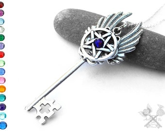 Pentacle Key Necklace / Skeleton Key Necklace / Pagan Jewellery / Wiccan Wedding / Key to my Heart Necklace / Pentagram Necklace