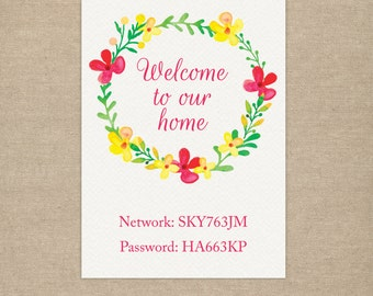 Wifi Password Guest Room Sign - Personalised Printable - Wifi is on the house