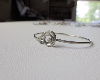 Upcycled Bicycle Spoke Bangle Bracelet , Stainless Steel Jewelry