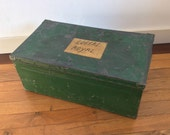 Reserved for Trine: Vintage French rustic industrial distressed green sheet metal toolbox or storage box