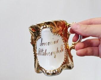 Antique Porcelain Souvenir Mug - Pittsburgh Pennsylvania Fancy Ornate Cup