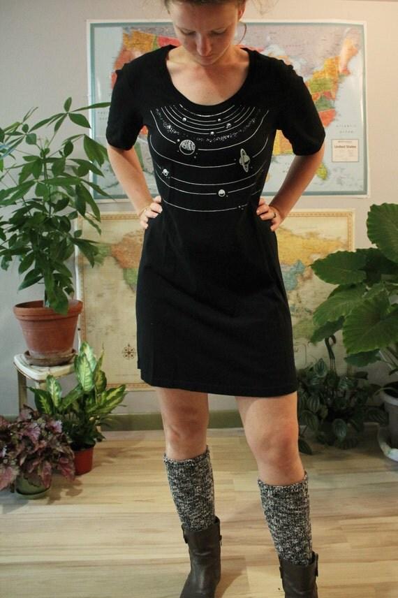 Solar System Dress Black Form Fitting Tee By Lizzystormdesigns