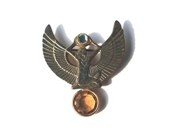 Vintage Gold Tone Egyptian Goddess Rhinestone Brooch Pin - Winged Isis Wings