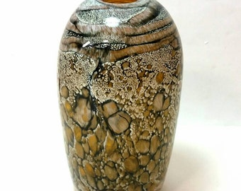 Sratum series vessel, Amber gold blown glass vase