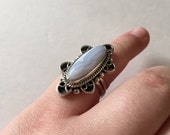 Vintage Sterling Silver Blue Lace Agate Stone Ring, CII 925 Mexico, Ring Size 6 3/4 (6.75)