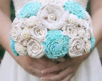 Aqua Wedding Bouquet // Bridal Bouquet, Blue, Aquamarine, Fabric Wedding Flower, Burlap Bouquet, Bridal Flowers, Sola Bridal Flower Bouquet