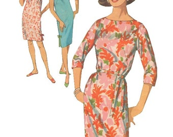 Simplicity 5203 Vintage 1960s Sewing Pattern Shift Dress Round Neckline Side Slits Dart Fitted Bust 34 36