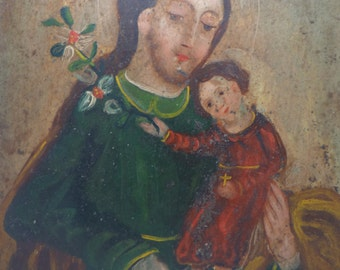 Early 1900's Saint Joseph with Jesus Christ Child Mexican Retablo, Antique Oil on Tin