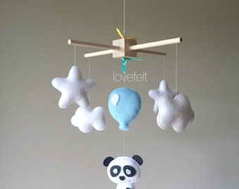 Baby Mobile - panda bear mobile - Baby mobile zoo - clouds Mobile - baby mobile animals - panda mobile