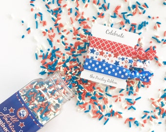 4th of July hair tie set on a Celebrate display card, red white and blue hair ties, stars elastic, USA, fourth of July, Olympics, team USA