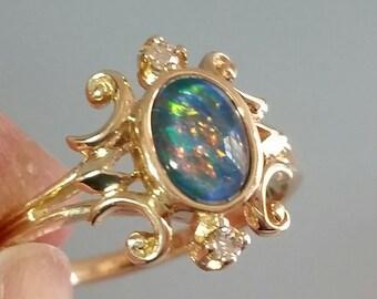 Vintage 10k Black Opal & Diamond Ring- BREATHTAKING