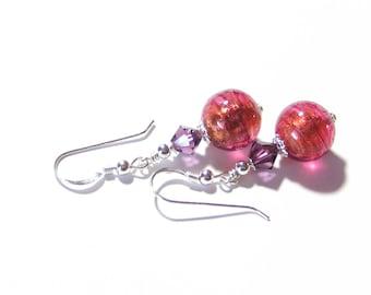 Pink Purple Crystal Earrings, Gift Idea, Venetian Jewelry, Murano Glass Earrings, Sterling Silver Leverback Earrings, Italian Glass Jewelry