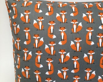 Grey mini fox cushion cover fox pillow woodland cushion woodland pillow kids cushion kids pillow boys girls gray cushion childrens cushions