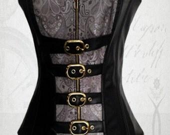Steampunk corset gothic corset vamp corset goth corset steampunk clothing overcast corset