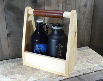 Double Growler Carrier Weekend Brew Holder - Craft Beer Brewery Holds 6 22oz Bottle Holder Crate Beer Ale Pine Wood Leather Grip Light Stain