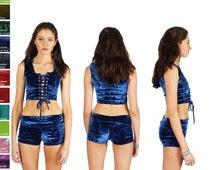 High/Low Waist Velvet Shorts Fold Down Waistband