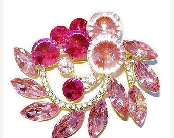 "Pink Rhinestone Brooch Rivoli Stones Ice Accents Silver Metal Flower Design 2.5"" Vintage"