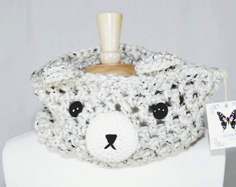 White Bear Crochet Cowl-Crochet Cowl-Crochet Scarf-Neck Warmer-Kawaii-Women Scarf-Bear Scarf-Animal Scarf-Winter Scarf-Christmas Gift