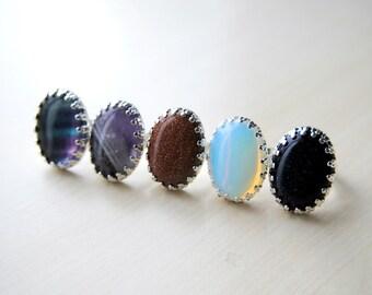 S A L E ! - Gypsy Gem Rings - Blue Sandstone - Opalite - Amethyst - Rainbow Fluorite - Boho - Adjustable -- Stone Ring -- Midnight Goldstone