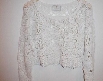 S.A.L.E.......Snow White Crochet Hippie Hand Knit Crop Sweater