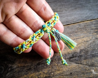 Pastel Friendship macrame bracelet with tassel summer boho jewelry woven in Turquoise Green and Canary Yellow braided by Mariposa