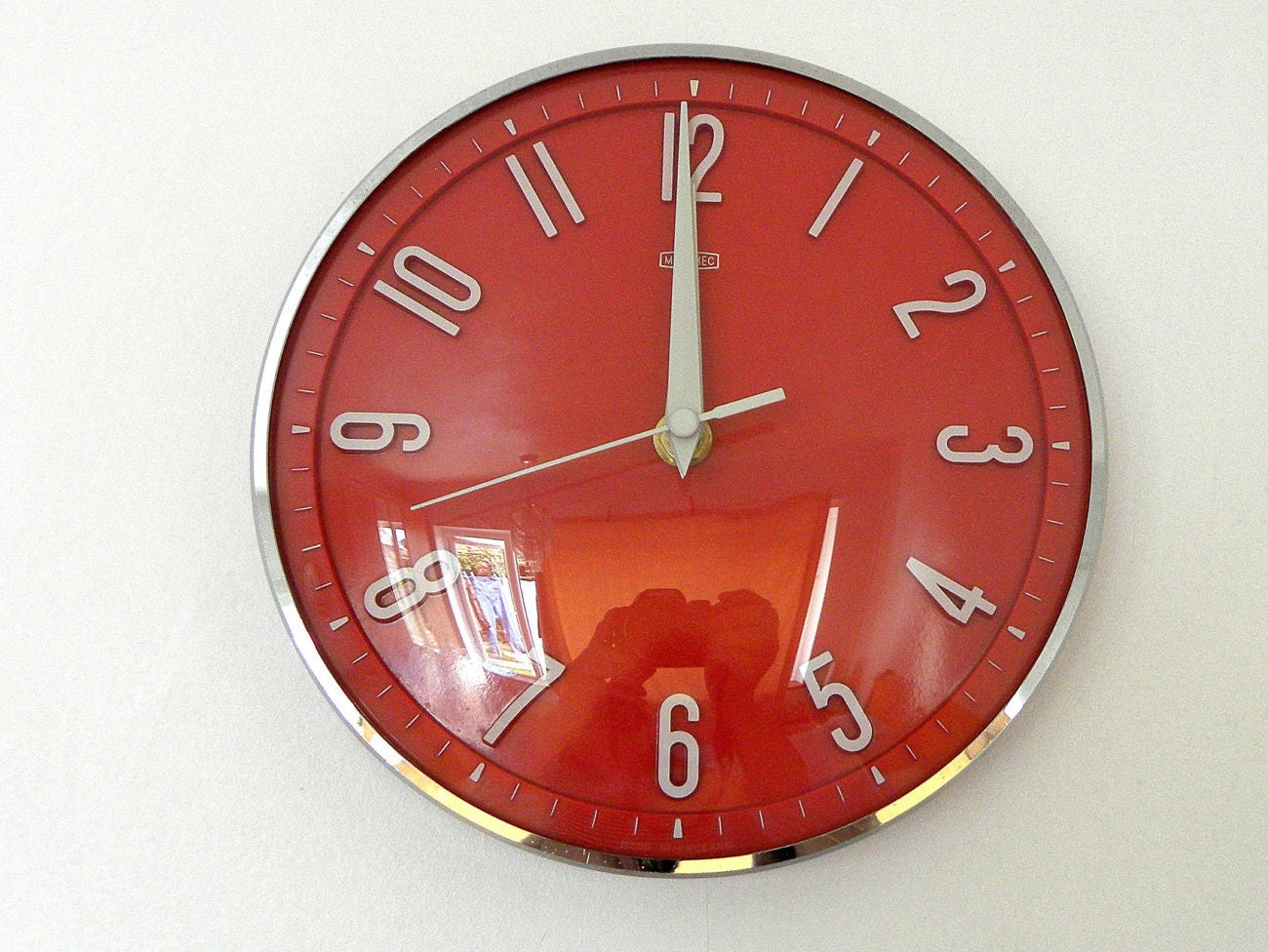 Vintage Metamec Wall Clock Red Kitchen Clock Battery