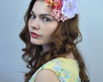 Bright Peony and Roses Flower Hair Clip Fascinator