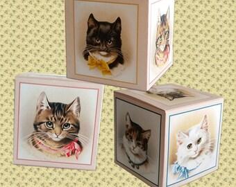 Digital Printable Vintage Cat Mini Gift Box - Victorian Cat - Treat Box - Jewelry Gift Box