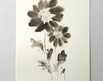 ink art drawing, ink drawing, flower art drawing, botanical art, botanical drawing, mini art, mini drawing, mini painting, ink flower,