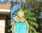 NORTHERN LIGHTS Tree Jewelry Christmas Ornament Aqua Snow Snowflake Ice Winter