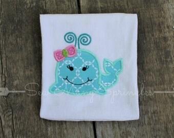 girly whale shirt, girls whale shirt, girls beach shirt, girls summer shirt, girls appliqued shirt, beach appliqued shirt, girly applique