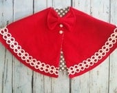 Girls Bow Cape - Red- pearl buttons - vintage design - polka dot lining
