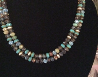 Czech Glass Double Strand Necklace , Handmade