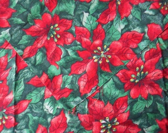 "Red Poinsettia Fabric, 1 yd x 44"", Christmas Material, Springs Living Christmas Spirit Fabric"