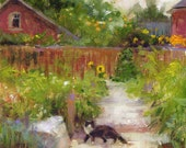 Original oil painting Cat garden flowers colorful fine art summer houses happy small 6x6 serene rustic home decor countryside path fence