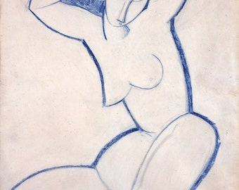 Modern Art Drawing Reproduction:   Caryatid, 1914 by Amedeo Modigliani. Fine Art Reproduction.